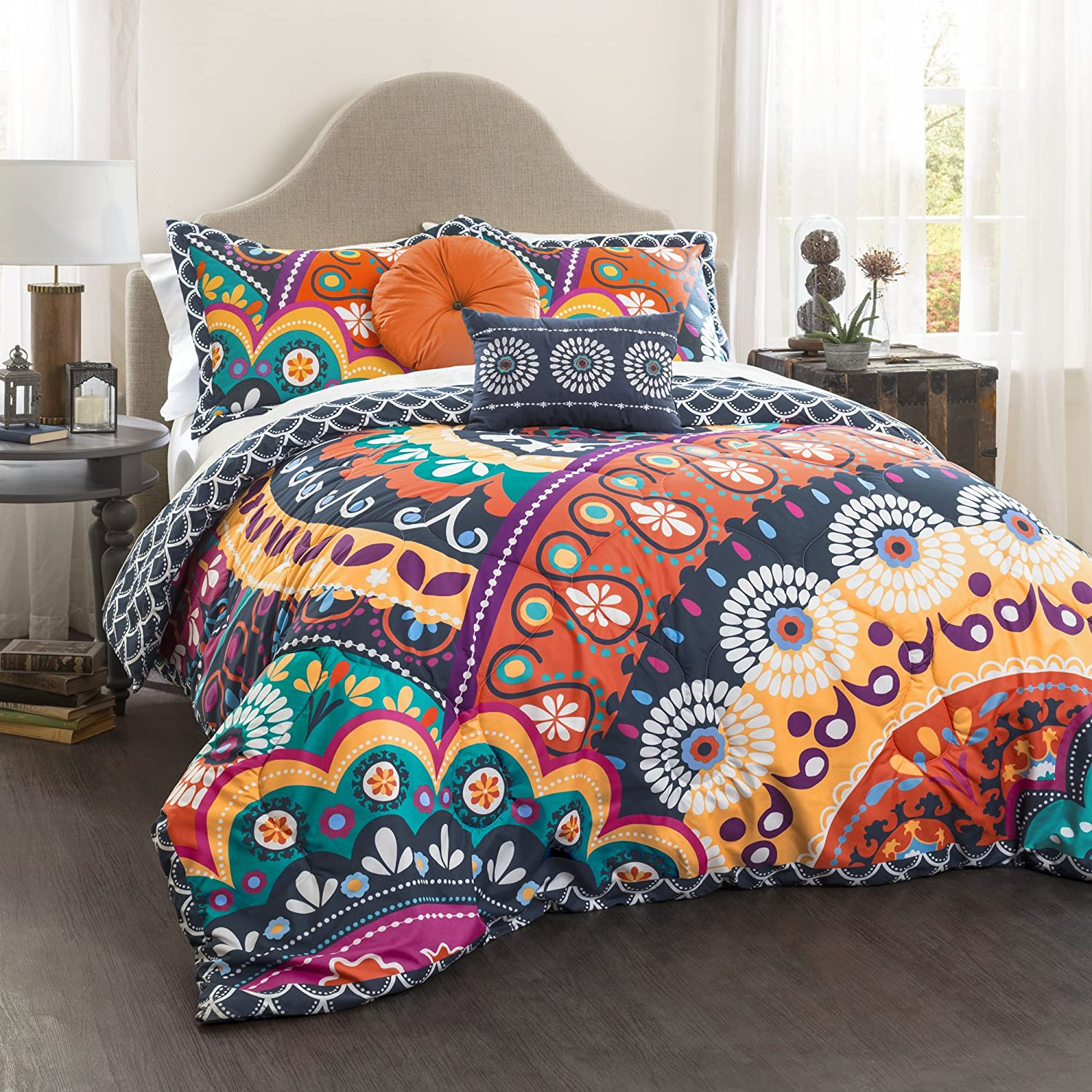 5 Piece Maya Quilted Comforter Set, King, Navy/Orange
