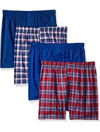 Hanes Mens 4-Pack ComfortBlend Woven Boxers with FreshIQ Boxer Shorts