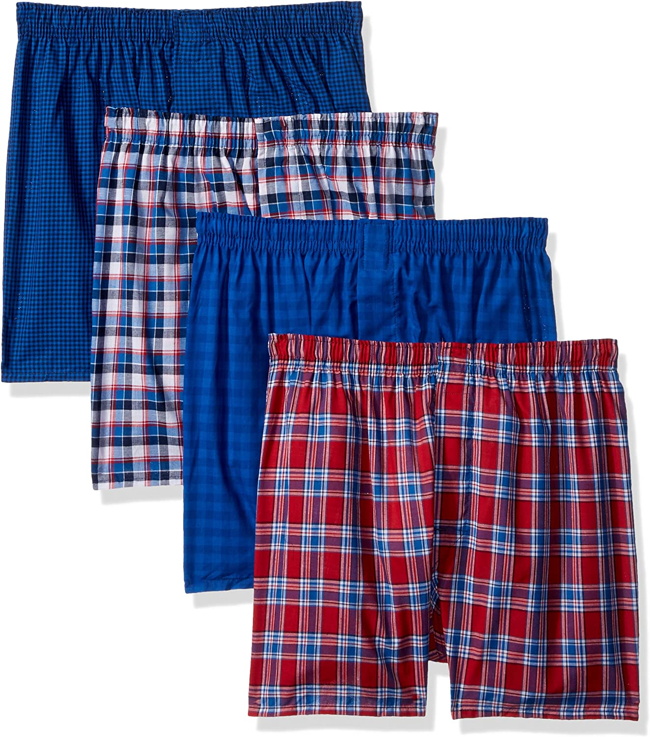 Hanes Men's 4-Pack Comfortblend Woven Boxers with Freshiq