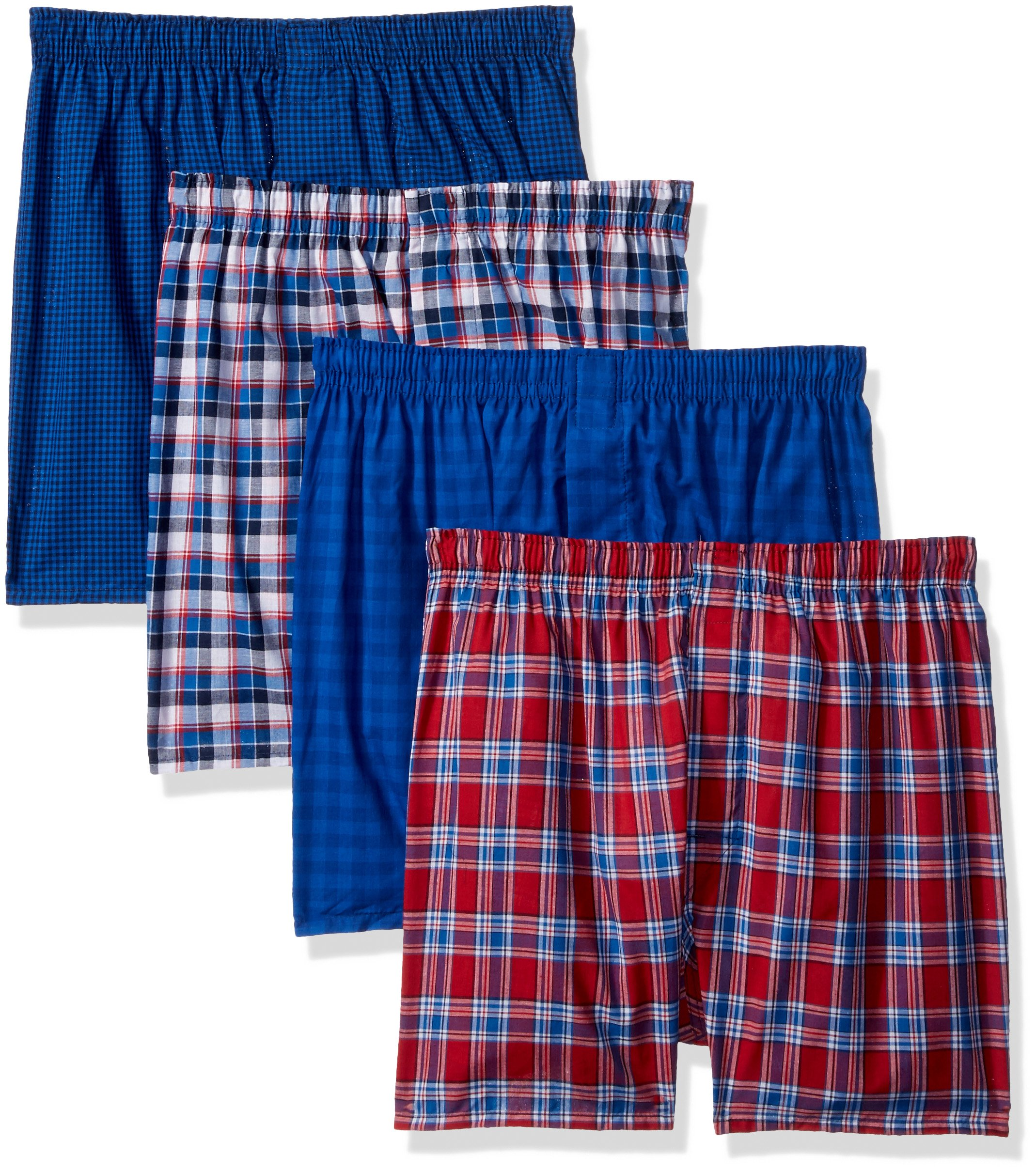 Hanes Men's 4-Pack ComfortBlend Woven Boxers with FreshIQ, Assorted, Large