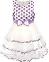 Girls Dress Purple Flower White Tulle Pleated Wedding Party Size 2-10 Years