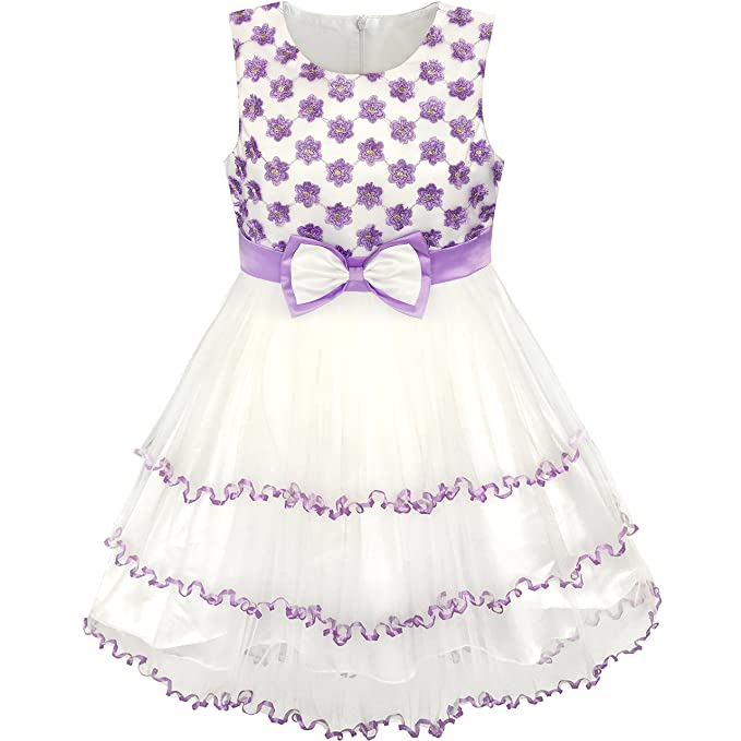 White and Purple Pleated Knee Length Dress
