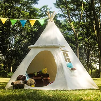 Astounding Lavievert Teepee Children Indian Playhouse Cotton Canvas Kids Play Tent For Indoor Or Outdoor Play White Download Free Architecture Designs Itiscsunscenecom