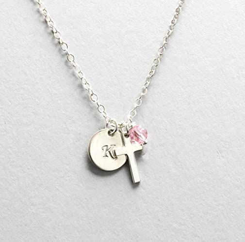 communion personalized flower necklace gift initial market confirmation cross il etsy girl first for