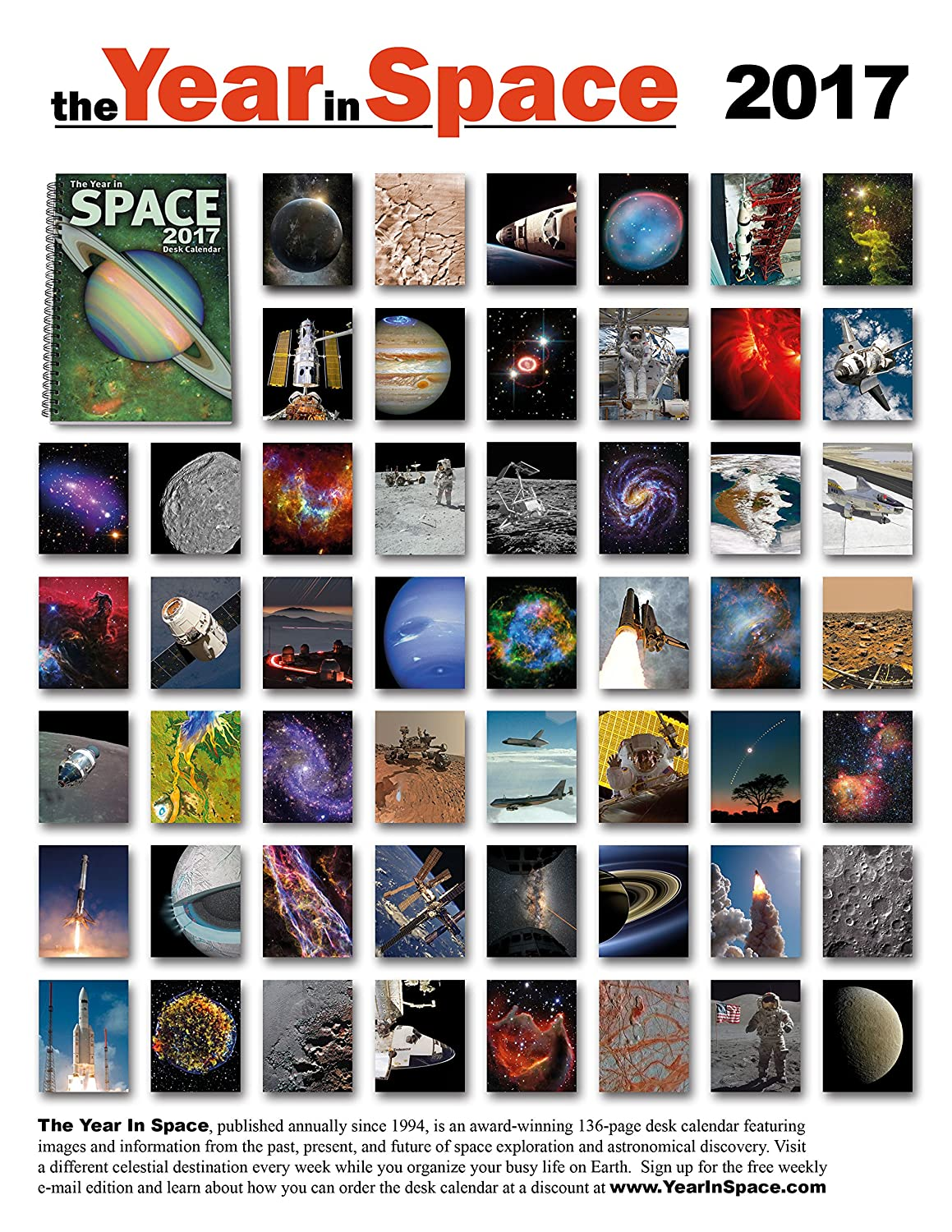 amazoncom the year in space 2017 desk calendar spiral bound 6 x 9 136 pages 53 weekly astronomy and space exploration images daily moon phases