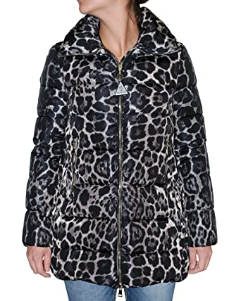 Moncler Women's Torcelle Leopard Print Quilted Puffer Coat (Black, ...