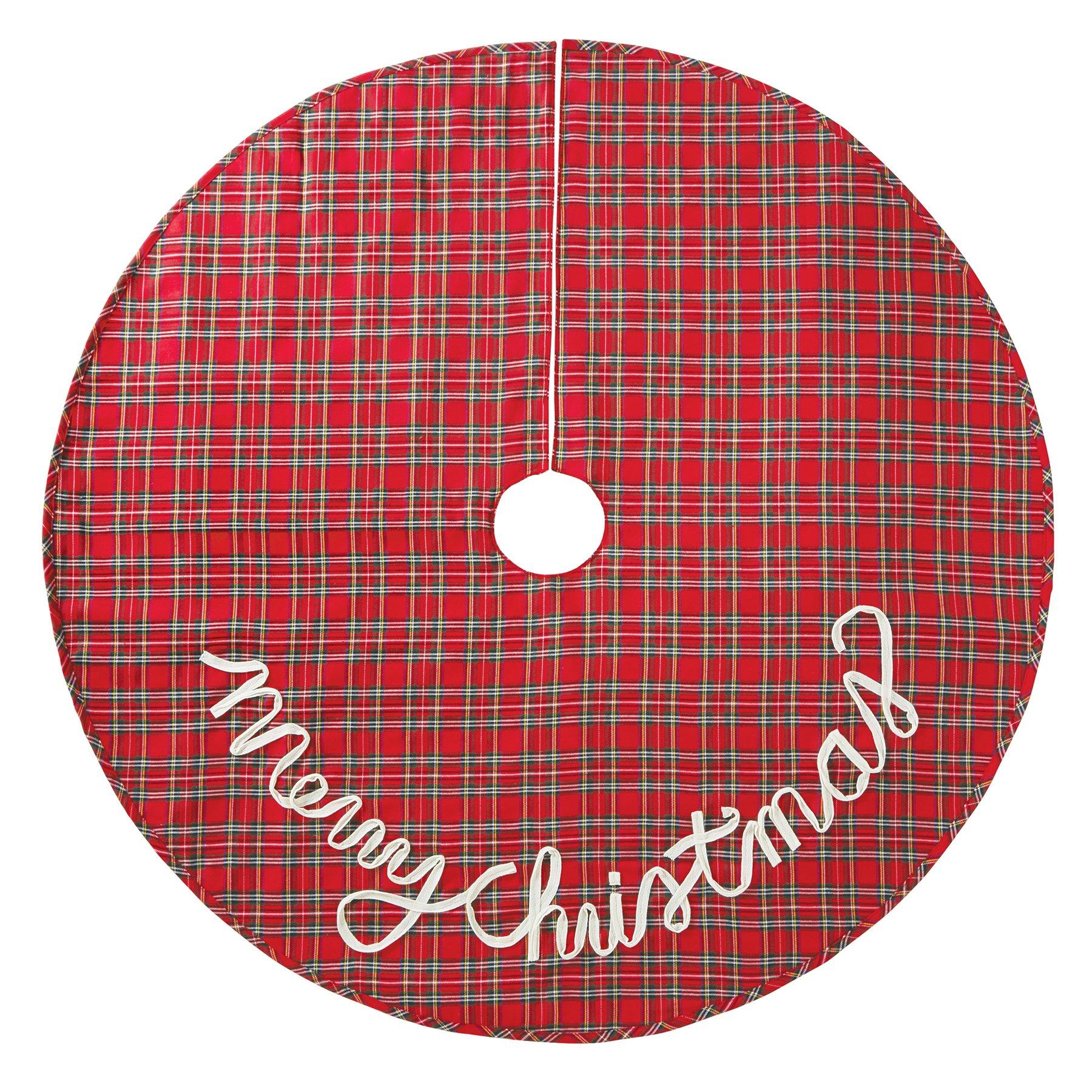 Mud Pie 4264329 Christmas Red Tartan Plaid Tree Skirt