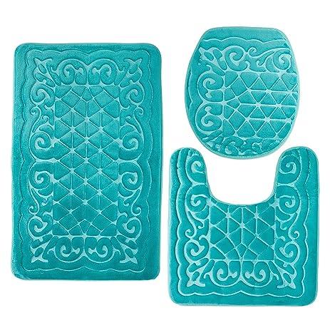 Bathroom Rug Mats Set 3 Piece   Memory Foam Extra Soft Shower Bath Rugs U2013  Contour