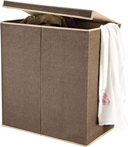 VILLACERA Double Laundry Hamper Two Compartment Sorter with Magnetic Lid, Brown