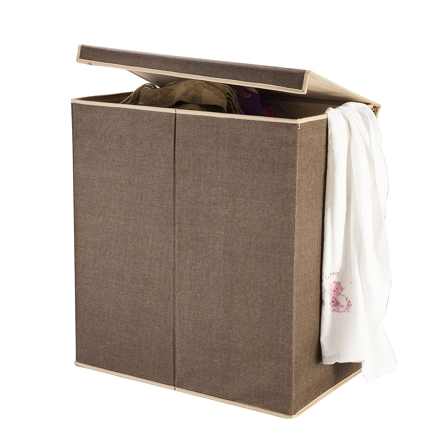 Villacera 83-DT5775 2 Compartment Laundry Hamper with Magnetic Lid