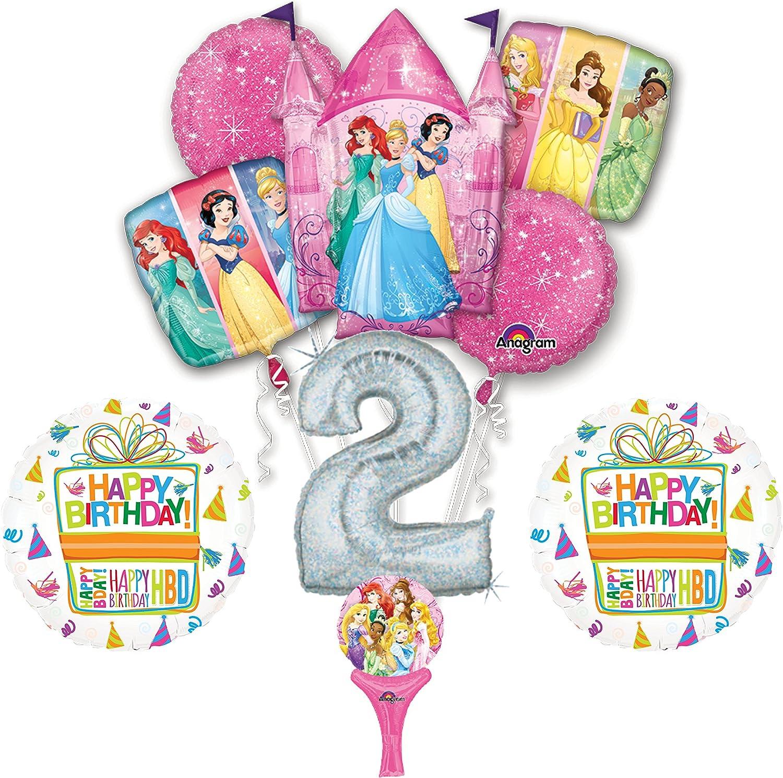 Age 2-5 Foil Helium Balloons DISNEY PRINCESS 2nd Birthday BALLOON Bouquet