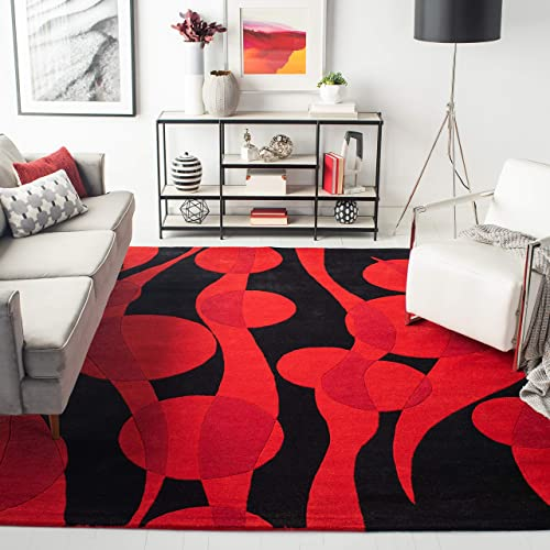 Safavieh Soho Collection SOH755A Handmade Black and Red Premium Wool Area Rug 6' x 9'
