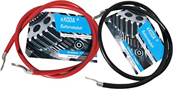 eXODA Auto Battery Cable 25 mm/² 100cm Copper Power Cable with Eyelets M6 black 12V Car Cable also for Your Charger