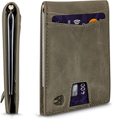 RFID Blocking Slim Minimalist ID Inside Front Pocket Wallet, Money Clip, 9 Slots, Leather
