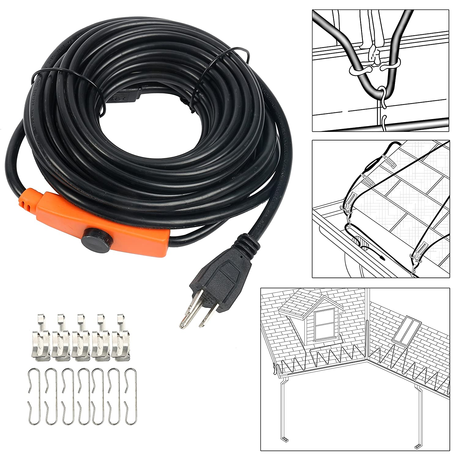 9milelake Heat Roof Gutter De-icing Ice Snow Melter Cable Tape Kit - 30FT , with Thermostat: On:6±3℃ Off:13±3℃ freebird trading