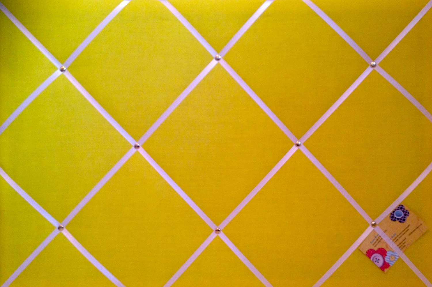 Pin Memo Board Large Yellow with White Ribbon Hand Crafted Fabric Notice
