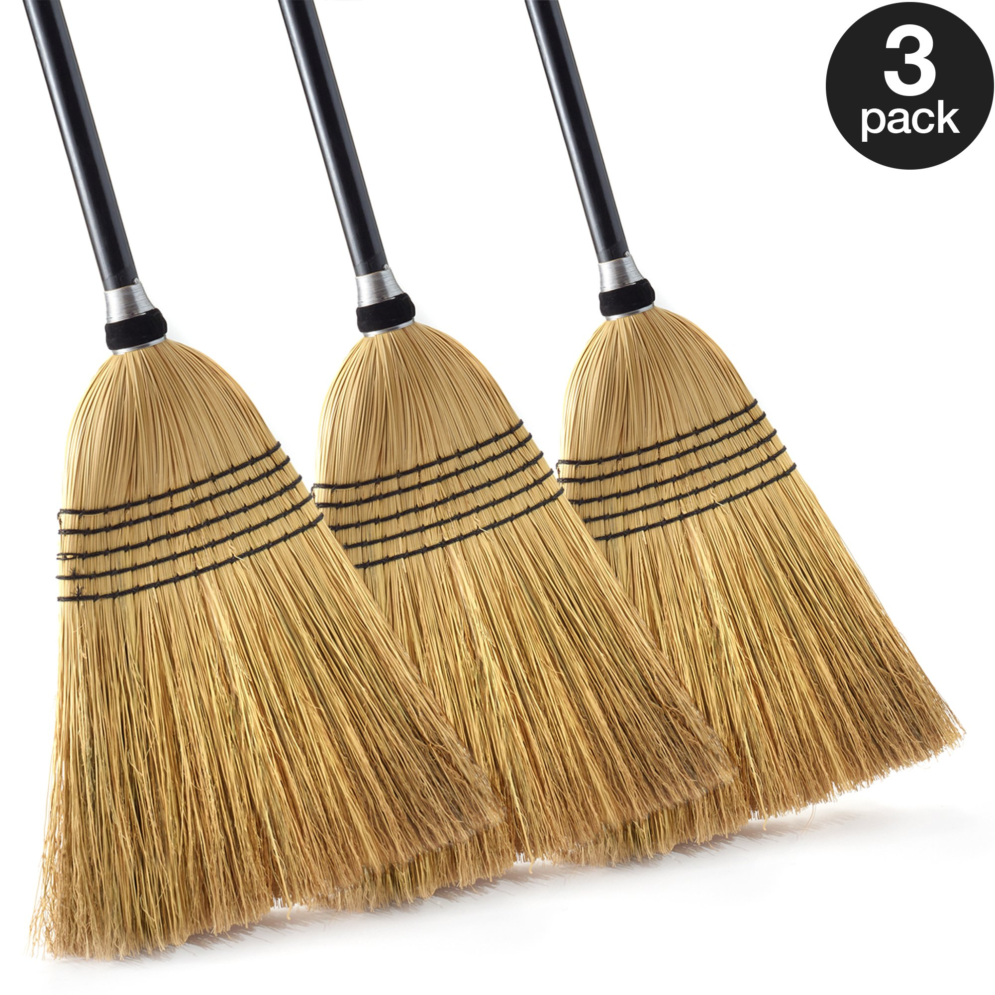 O-Cedar Heavy Duty Commercial 100% Corn Broom with Solid Wood Handle (Pack - 3)