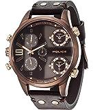 Montre bracelet cuir à quartz Police avec chronographe 14374jsbn/12 pour hommes.