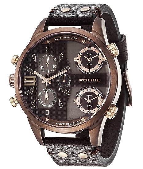 aff8ebd344dc Police Reloj Multiesfera para Hombre de Cuarzo con Correa en Cuero  PL14374JSBN.12  Amazon.es  Relojes