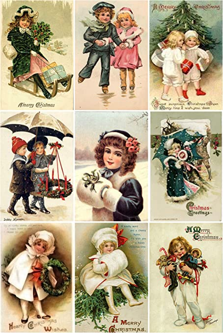 Victorian Vintage Winter Children with Muffs Christmas Cards #101 Printed Collage Sheet 8.5 x 11