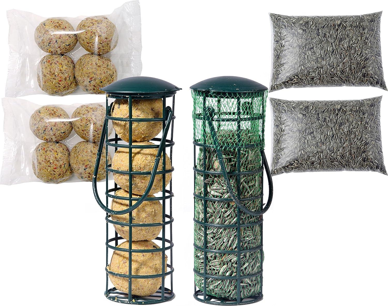 dobar Dos comederos llenos Incluye 4 recargas, Bolas de pienso Semillas de Girasol, alimento para Aves Silvestres Durante Todo el año, Paquete de 1 Unidad (1 x 1,68 kg)