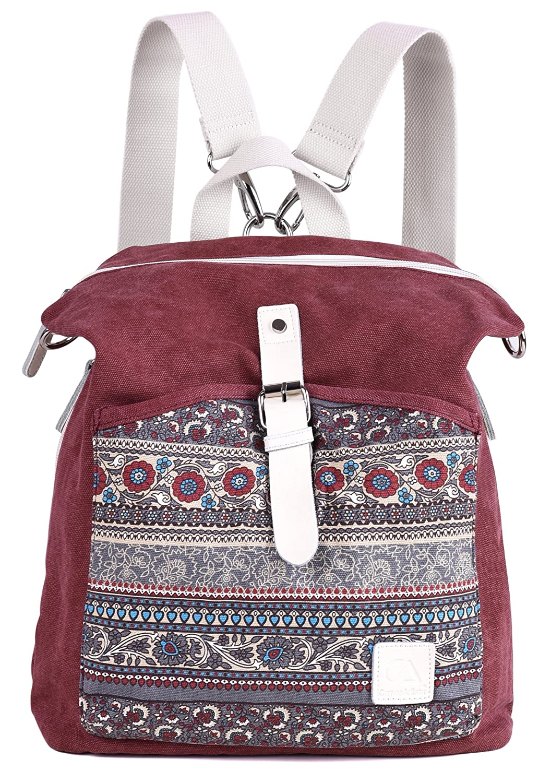 ArcEnCiel Women Girl Backpack Purse Canvas Rucksack Shoulder Bag D1016-20-01