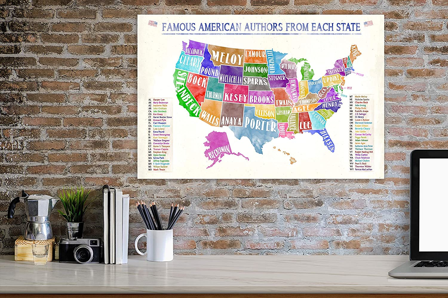 Famous American Authors From Each State Water Color Literary Art Print. Classroom, Library or Office US Map Poster. Multiple Sizes