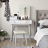 Dressing Table and Jewelry Cabinet Set with Mirror-White