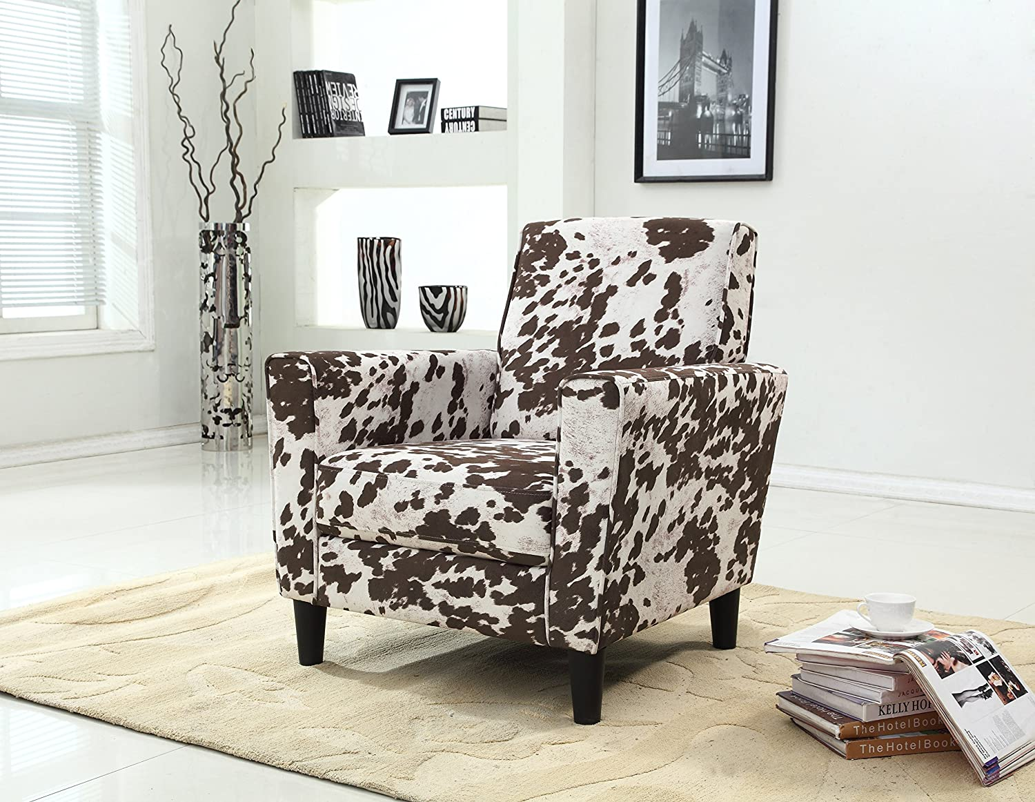 . Container Furniture Direct Adair Collection Modern Cowhide Pattern  Upholstered Living Room Accent Arm Chair Back  Brown Beige