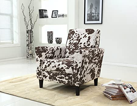 Container Furniture Direct Adair Collection Modern Cowhide Pattern Upholstered Living Room Accent Arm Chair with Back, Brown Beige