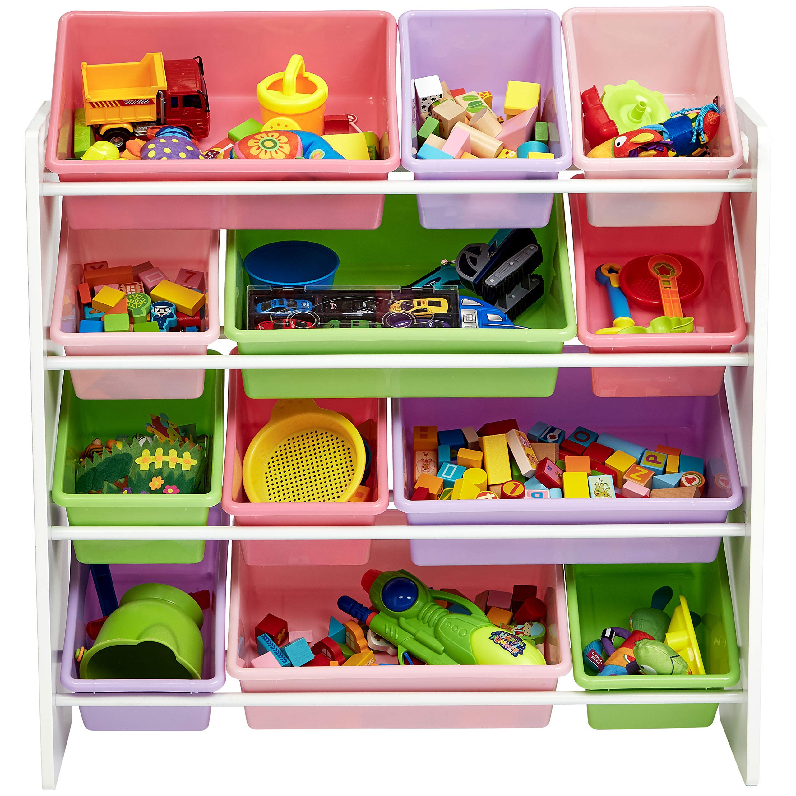 AmazonBasics Kids Toy Storage Organizer Bins - White/Pastel by AmazonBasics (Image #4)