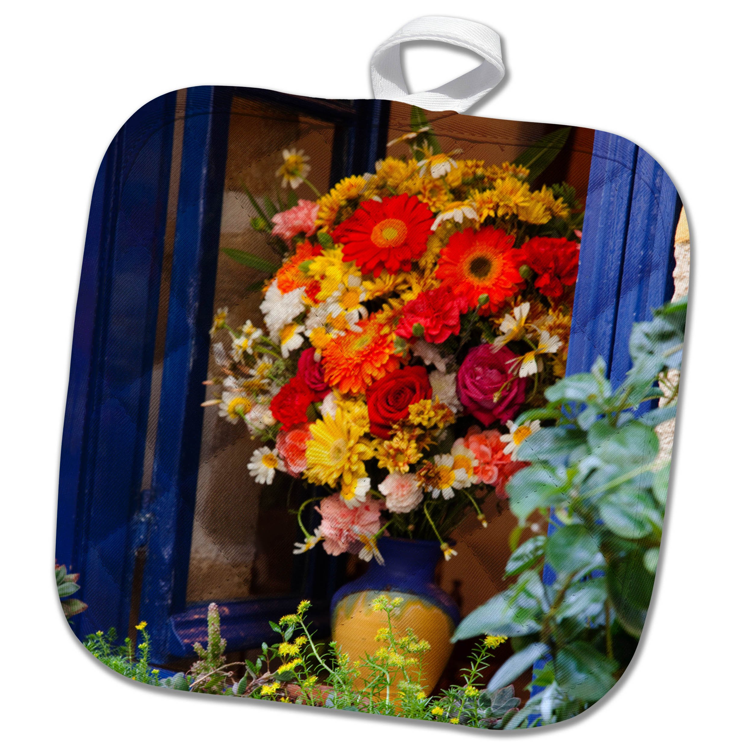 3dRose Danita Delimont - Flowers - Greece, Crete, Chania, Window in Chania - 8x8 Potholder (phl_277430_1)