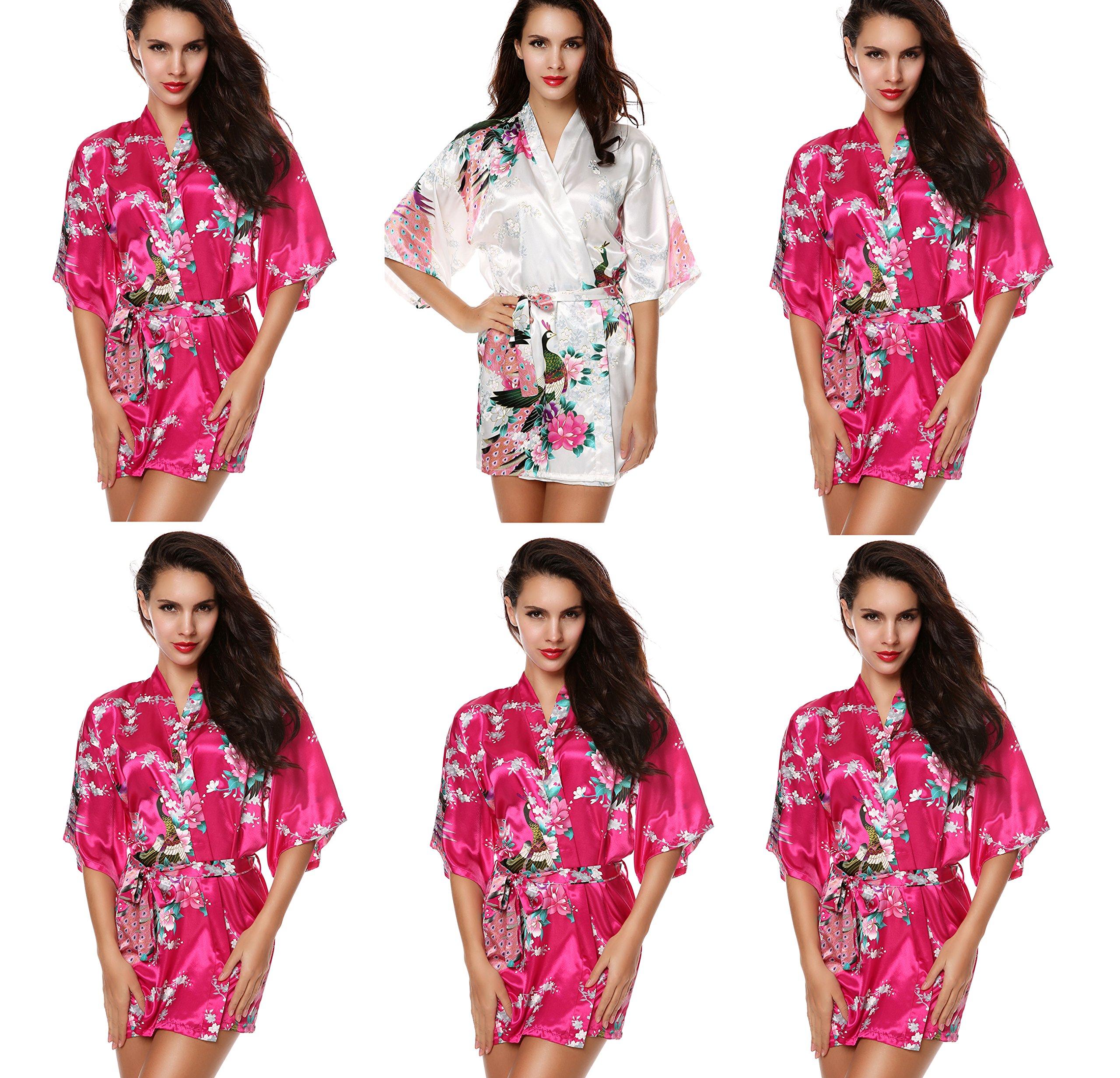 Avidlove Women's Robes Modern Celebrations Silk Bridesmaid Peacock Kimono Robe 6 Packs
