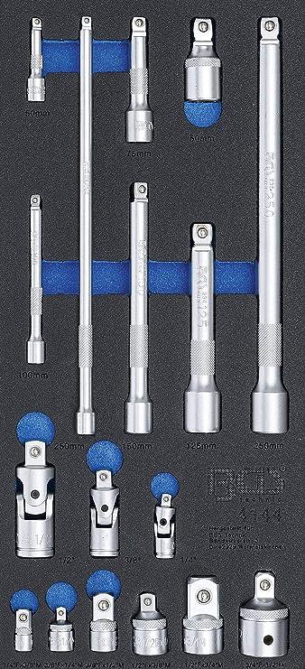 17-tlg BGS technic 4144 Werkstattwageneinlage 1//3: Verl/ängerungs Adapter-und Gelenk-Satz matt | Verchromt