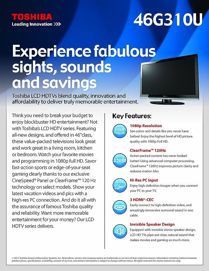 amazon com toshiba 46g310u 46 inch 1080p 120 hz lcd hdtv black rh amazon com Wall Mount Toshiba TV Back Panel
