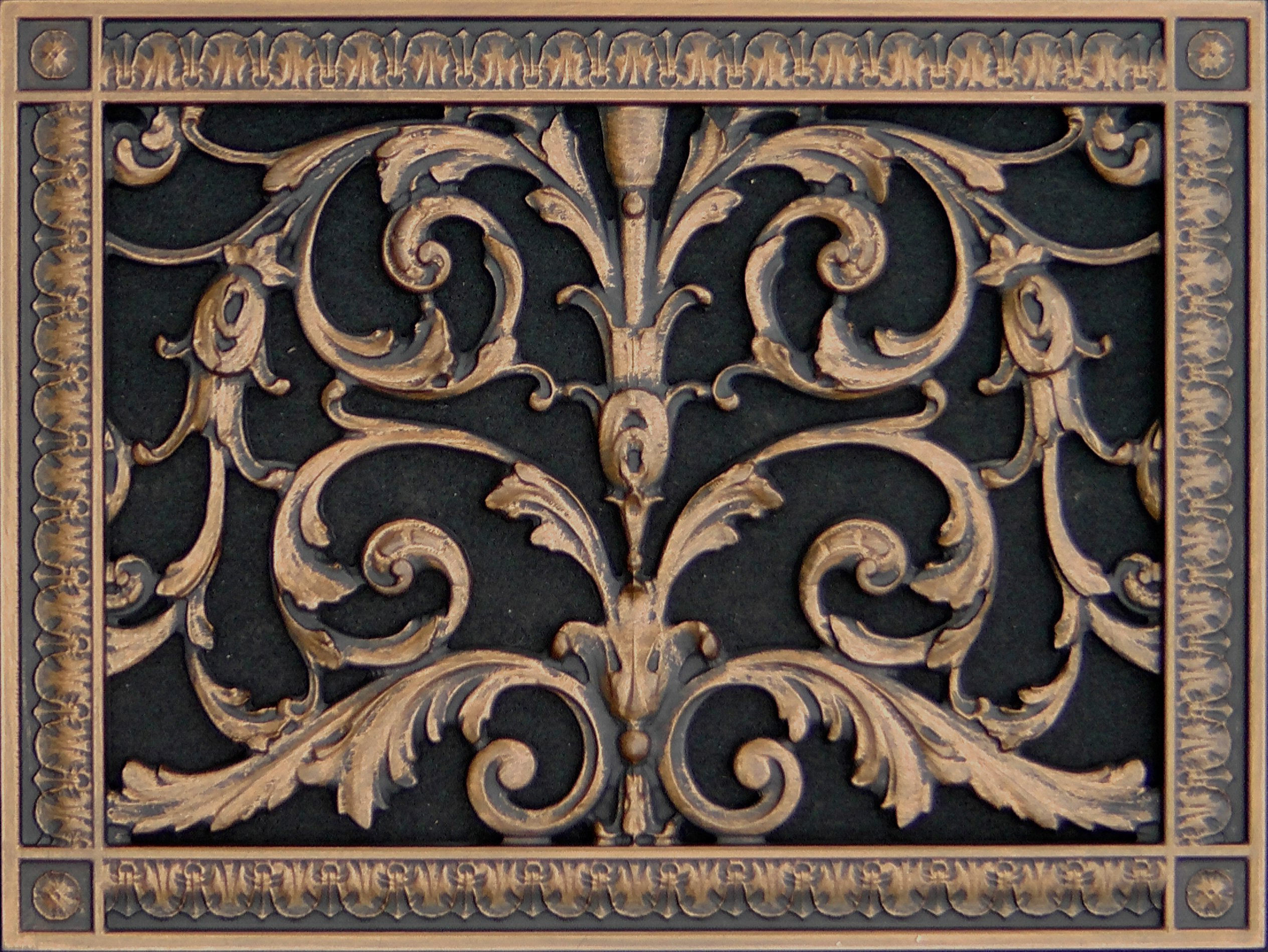 "Decorative Vent Cover, Grille, made of Urethane Resin in Louis XIV, French style fits over a 10"" x 14"", Total size, 12"" by 16"", for wall & ceiling installation only. (not for floors) (Rubbed Bronze) by Beaux-Artes, Ltd."