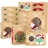 KD KIDPAR 24PCS Christmas Cookie Boxes Large for Gift Giving Packaging Holiday Christmas Food, Bakery Treat Boxes with…