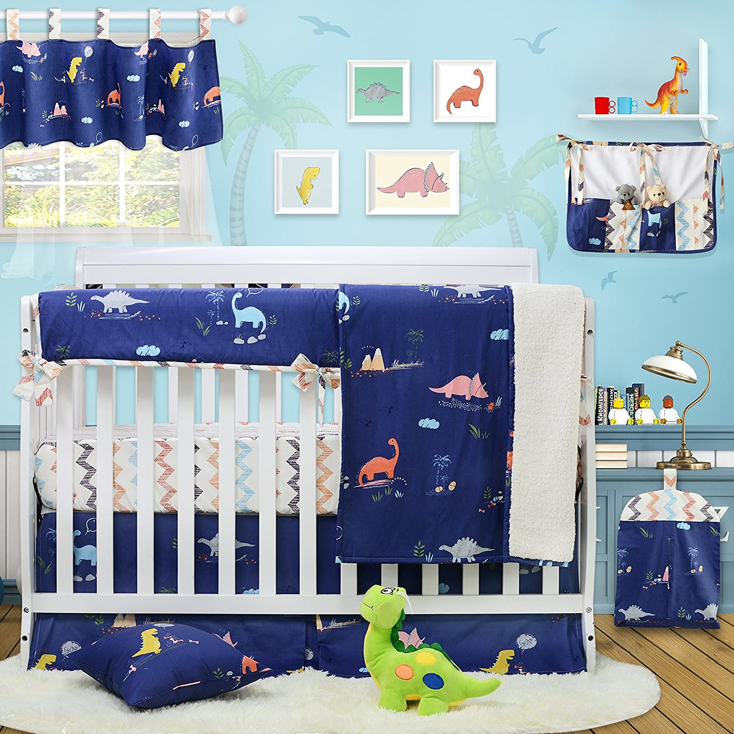 Brandream Dinosaur Crib Bedding With Long Crib Rail Cover 100 Cotton Baby Boy Crib Bedding Sets Blue Nursery Bedding 9 Pieces