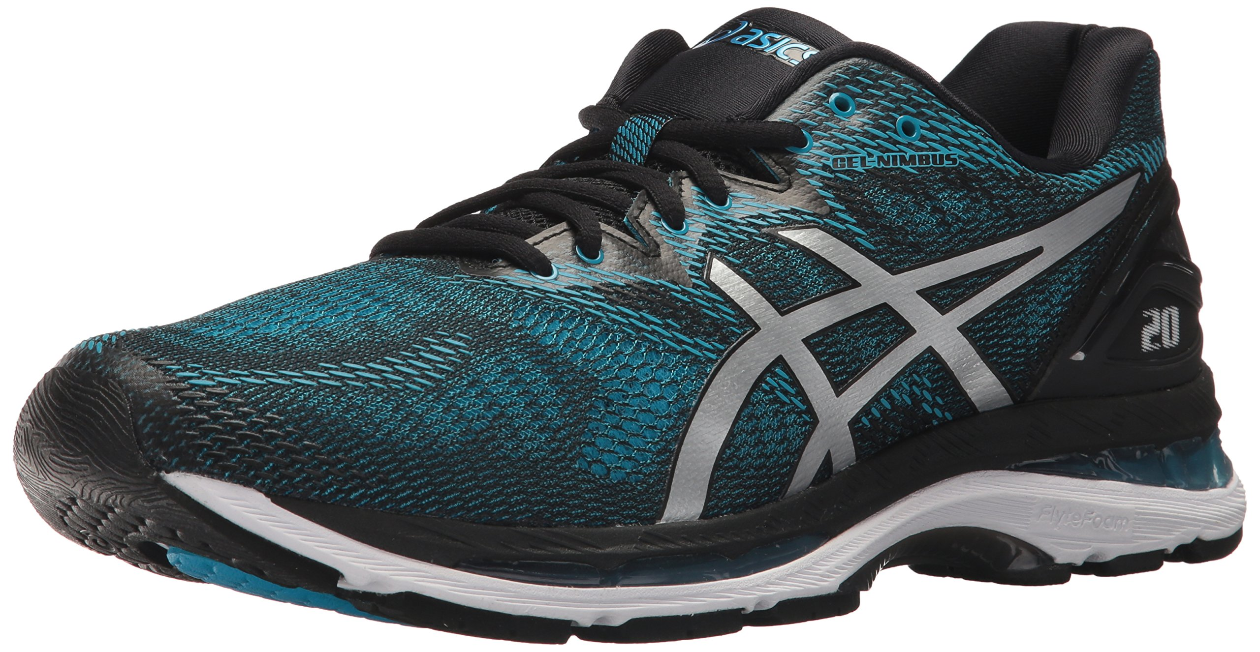 ASICS Men's Gel-Nimbus 20 Running Shoe, Island Blue/White/Black, 9 Medium US