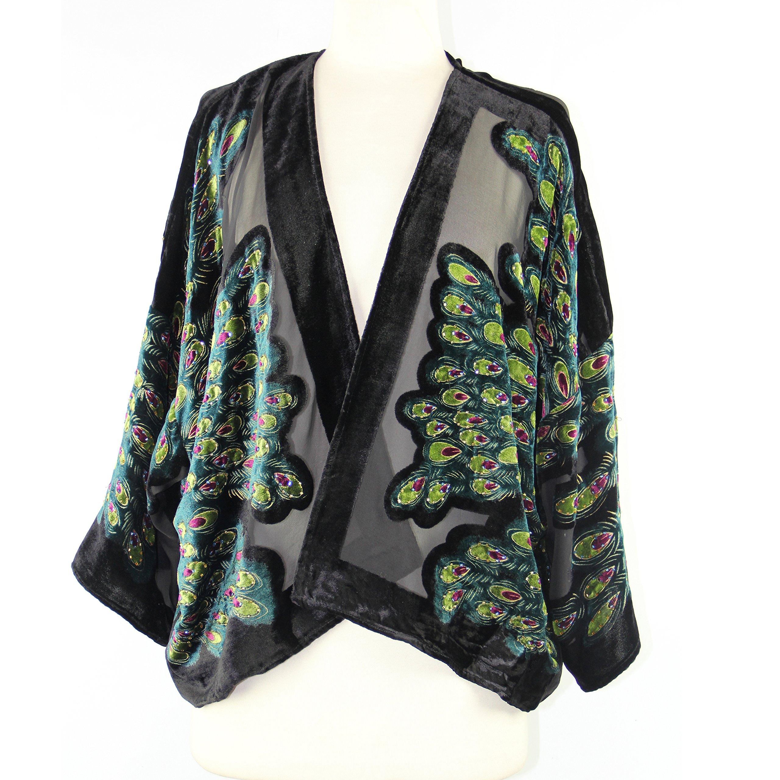 Aris A Women Vintage Velvet Burnout Kimono Duster