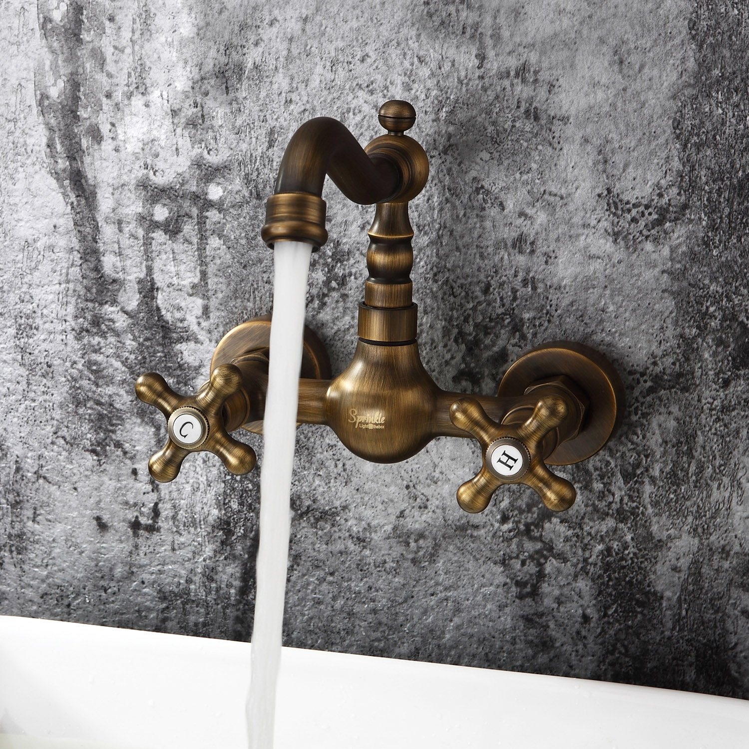 Sprinkle - Antique inspired Bathroom Sink Faucet - Wall Mount (Antique Brass Finish)