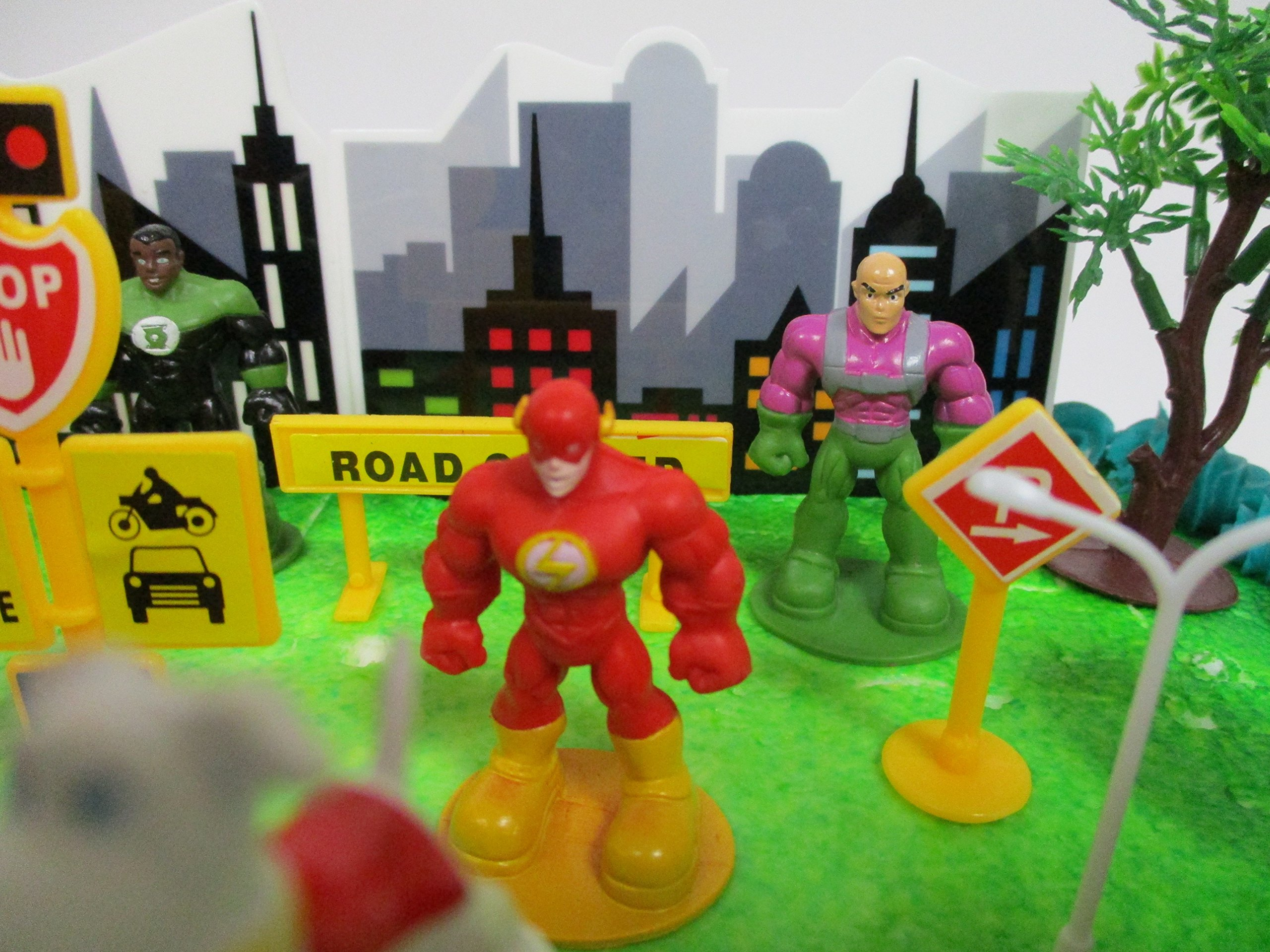 DC Comic Super Friends Birthday Cake Topper Set Featuring Super Hero Crime Fighters and Villains with Decorative Accessories by Kitoo (Image #7)