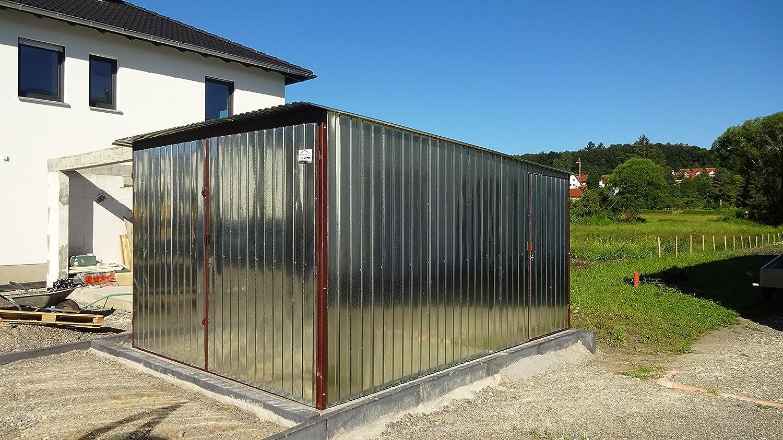 Chapa Garage Montado garajes metal Garage Almacenamiento Halle Garage 3 x 5 A Escala tejado plano: Amazon.es: Jardín