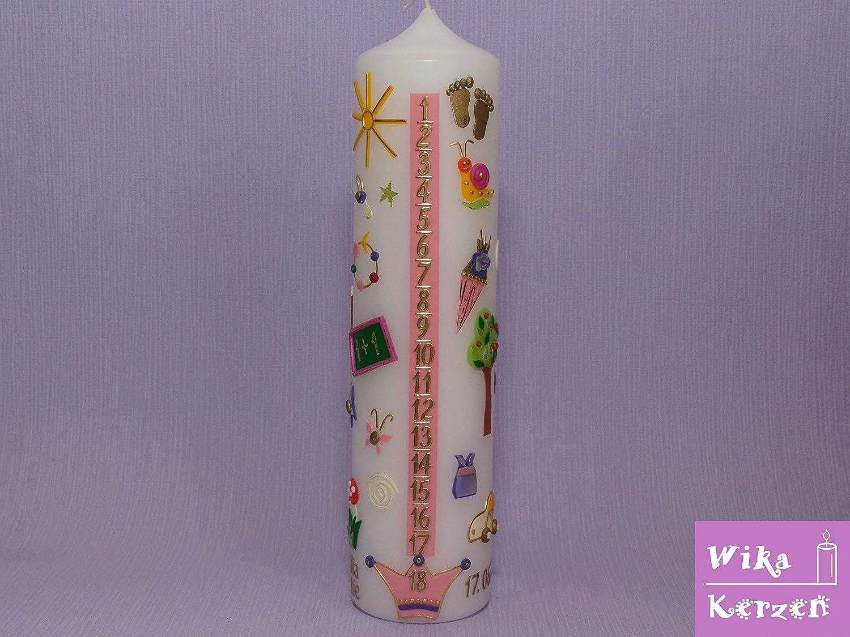 Geburtstagskerze Lebenslicht Geburtskerze Lebenskerze zur Geburt Nr.16 25x6 cm Alle Motive 100/% Handgefertigt