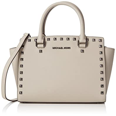 6fb40c56ad5ba Image Unavailable. Image not available for. Color  MICHAEL Michael Kors  Selma Stud Medium Leather Satchel Cement
