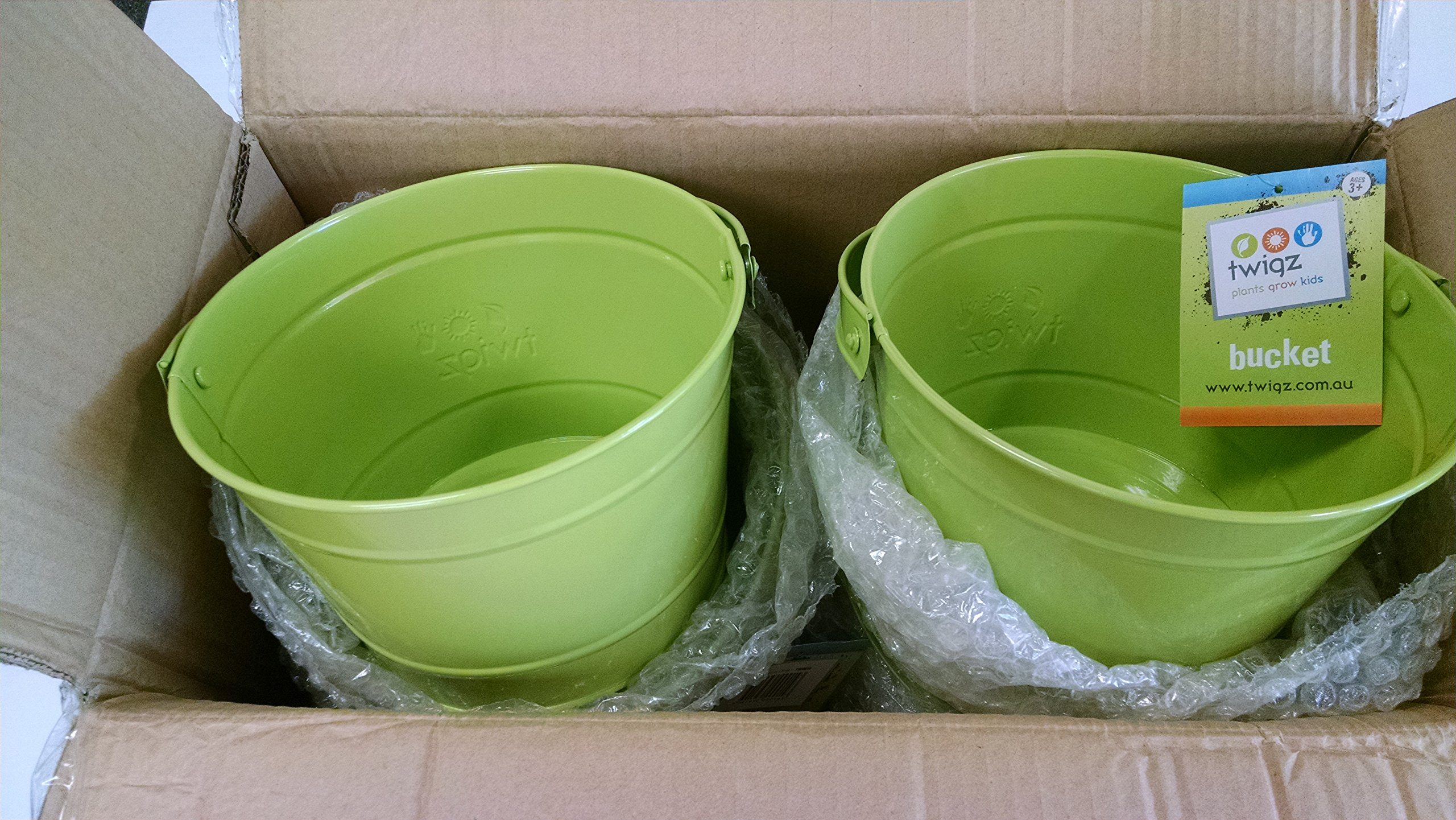 Twigz Kids Gardening Bucket - Steel - Green - Multipack of 24 Buckets - Value Pack - Big Savings for Childrens Gardening Groups and Classes and Workshops, Preschools, Kindergardens and Schools