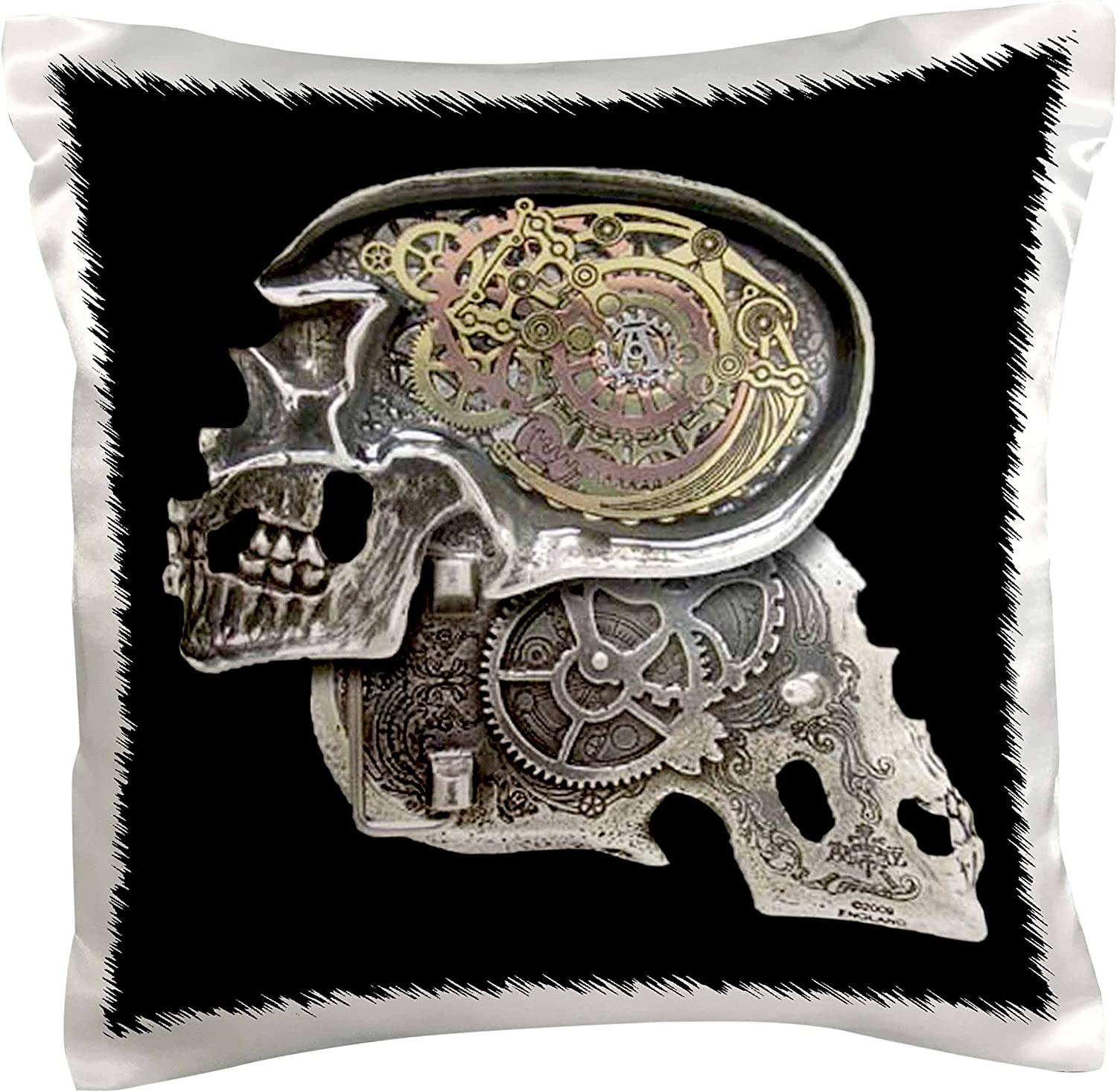 3dRose pc/_102675/_1 Steampunk Gothic Faux Metal Skull Image-Pillow Case 16 by 16