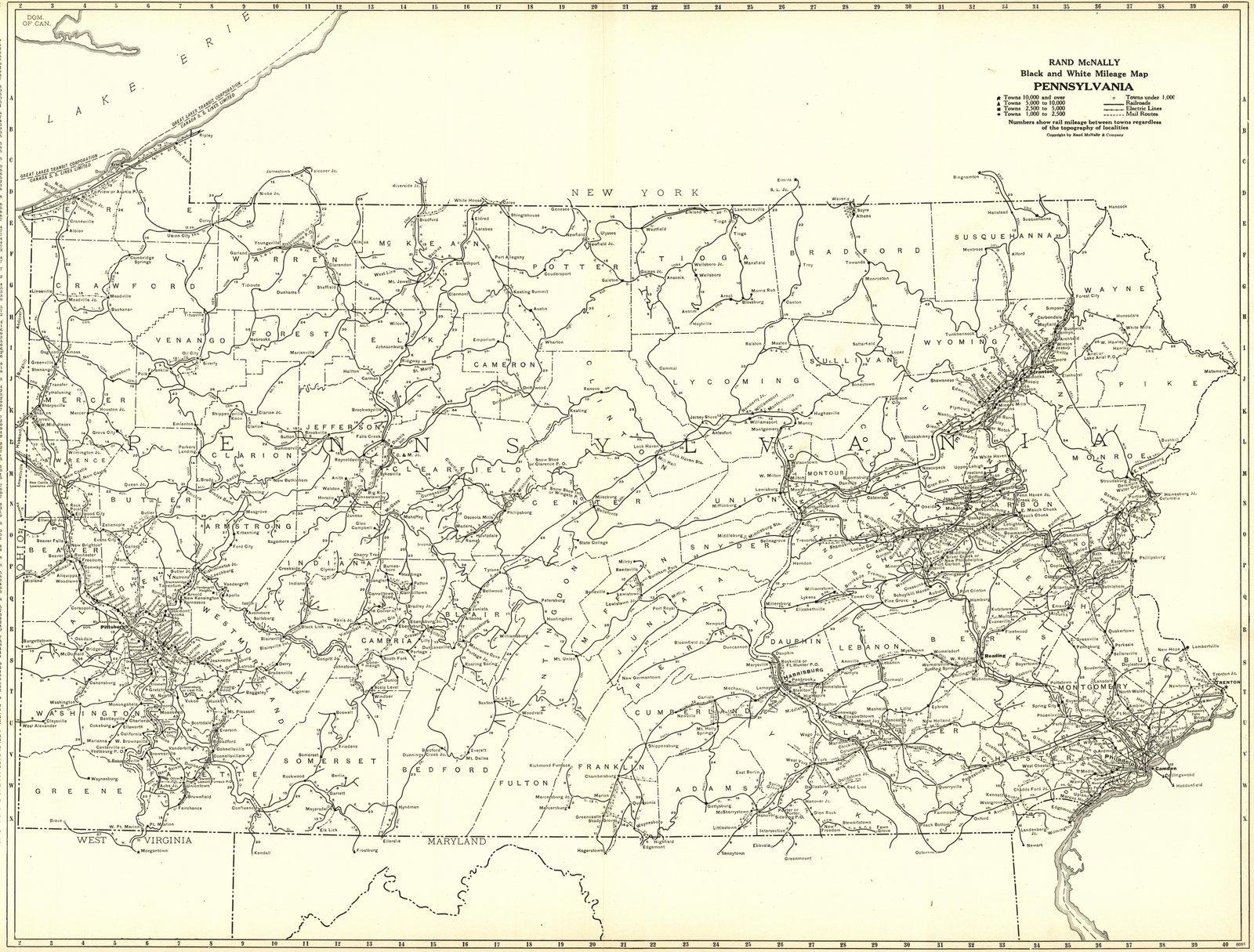 Historic Map   1921 Pennsylvania- Black and White Mileage Map   Rand McNally and Company