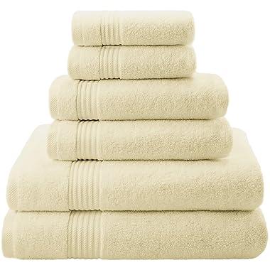 Premium, Luxury Hotel & Spa, Turkish Towel 100% Cotton 6-Piece Towel Set for Maximum Softness & Absorbency by American Veteran Towel - Ivory