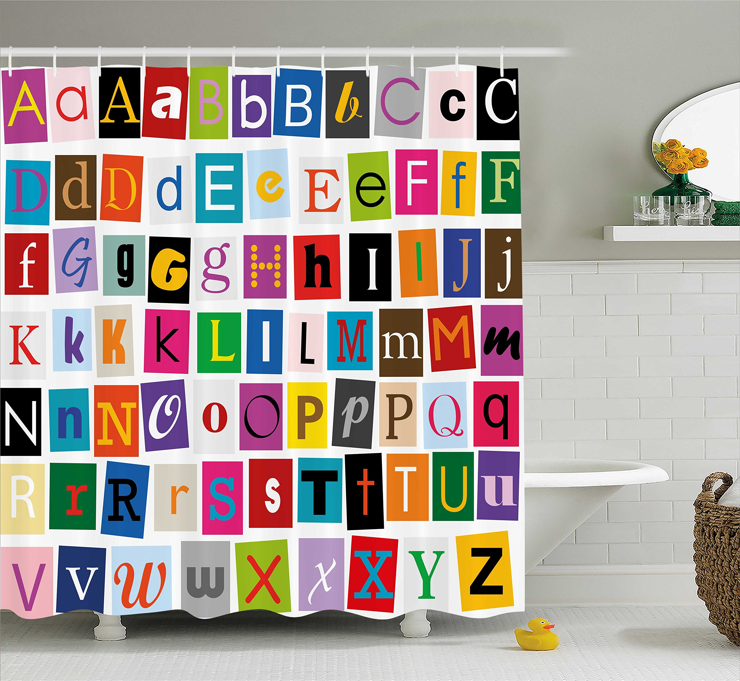 Ambesonne Abstract Shower Curtain by, Alphabet Letters Colorful Typography Languages Principle Art Symbols Illustration, Fabric Bathroom Decor Set with Hooks, 70 Inches, Multicolor